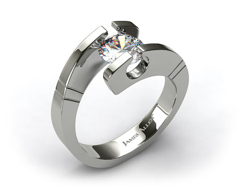 14k White Gold Pointed and Etched Tension Set Engagement Ring